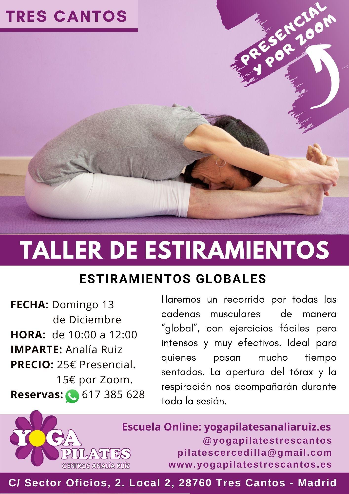 taller de estiramientos en yoga pilates tres cantos